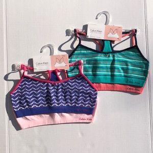 🆕 Calvin Klein Girls Crop Bras Sz L (12-14) X 4